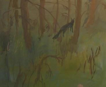 Wald und Fuchs, Öl auf Leinwand, 140 x 160 cm, 2006