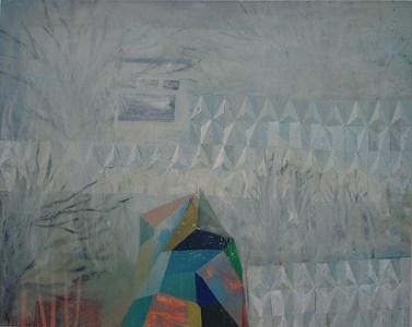 Gebäude und Mauer im Nebel, Acryl auf Leinwand, 160 x 200 cm, 2012