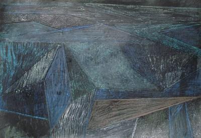 Koitenhagen nachts, Mischtechnik auf Papier, 21 x 29,7 cm, 2012