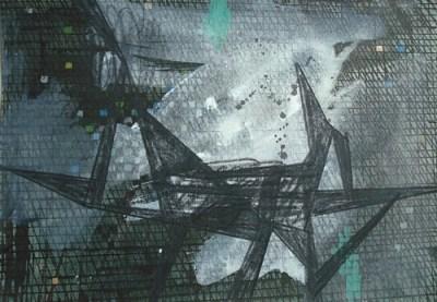 Treppeln, Mischtechnik auf Papier, 21 x 29,7 cm, 2010