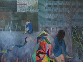 'Zwei Frauen vor Plattenbauten, abends', Acryl auf Leinwand, 160 x 200 cm, 2013