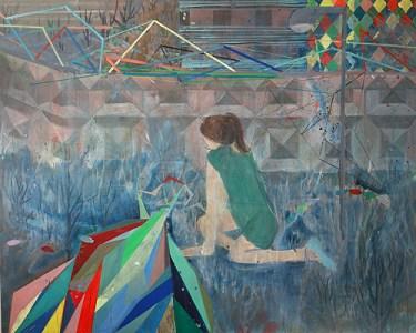 'Frau in grünem Kleid vor Betonstrukturmauer', Acryl auf Leinwand, 160 x 200 cm, 2014