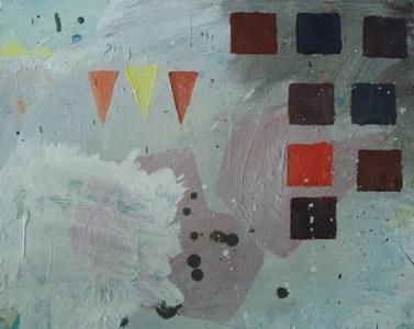 Schnee, Dreiecke und Quadrate, Öl auf Hartfaser, 24 x 30 cm, 2008