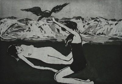 Eagle / Double Bluff, Whidbey Island, Aquatinta, 22 x 32 cm, 2007