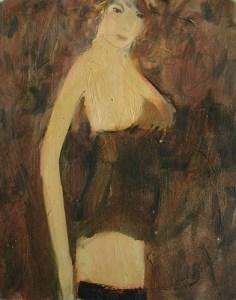 Frau in braunem Oberteil, Öl auf Hartfaser, 24 x 30 cm, 2007