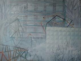 Plattenbau und Mauer im Nebel, Acryl auf Leinwand, 160 x 200 cm, 2012