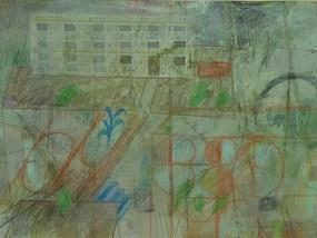 Plattenbau und Grünanlage, Mischtechnik auf Papier, 21 x 29,7 cm, 2012