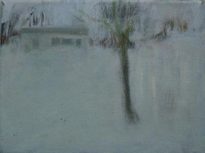Kleines Haus und Baum, Öl auf Leinwand, 18 x 24 cm, 2005