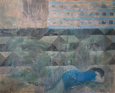 'Frau in blauem Kleid vor Betonstrukturmauer', Acryl auf Leinwand, 160 x 200 cm, 2015