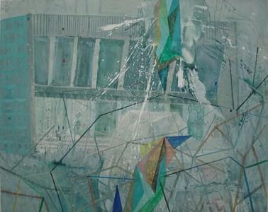 Gebäude im Nebel, Acryl auf Leinwand, 160 x 200 cm, 2012