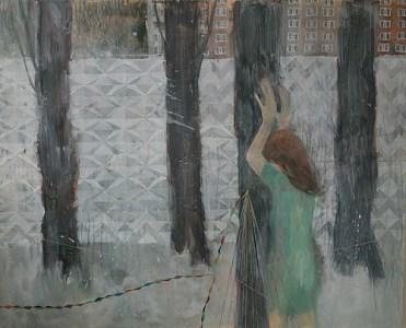 'Frau im Schnee vor Bäumen und Betonstrukturmauer', Acryl auf Leinwand, 160 x 200 cm, 2015