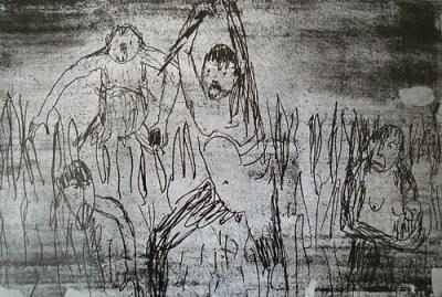 Affen, Vernis mou, 21 x 31 cm, 2006