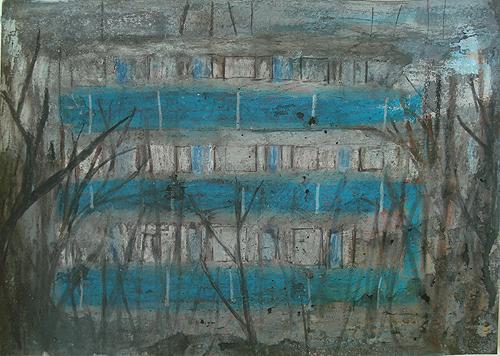 Plattenbau und Bäume, Mischtechnik auf Papier, 21 x 29,7 cm, 2012