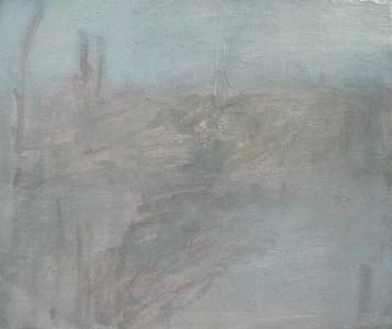 Nebelige Landschaft II, Öl auf Leinwand, 24,5 x 29,7 cm, 2004