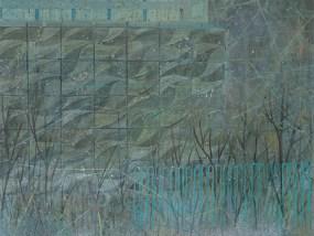 'Plattenbau und Betonstrukturwand (G 7)', Acryl auf Leinwand, 80 x 100 cm, 2014
