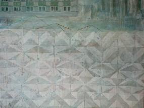 'Plattenbau und Betonstrukturwand mit Schnee (G 6)', Acryl auf Leinwand, 80 x 100 cm, 2015