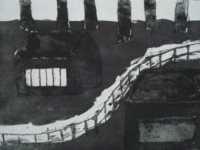 Zwei Hütten, Aquatinta, 17,6 x 24,5 cm, 2009