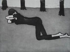 Mädchen liegend, Aquatinta, 13,5 x 20 cm, 2009