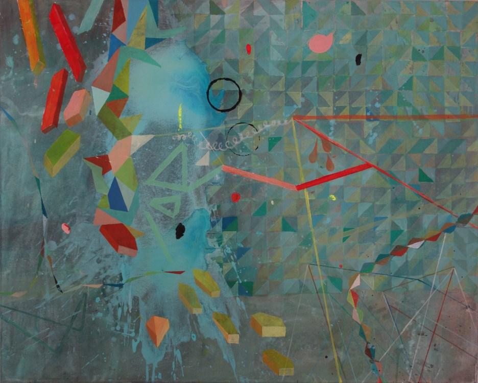 Mint, Rot, Gelb, Acryl auf Leinwand, 80 x 100 cm, 2019