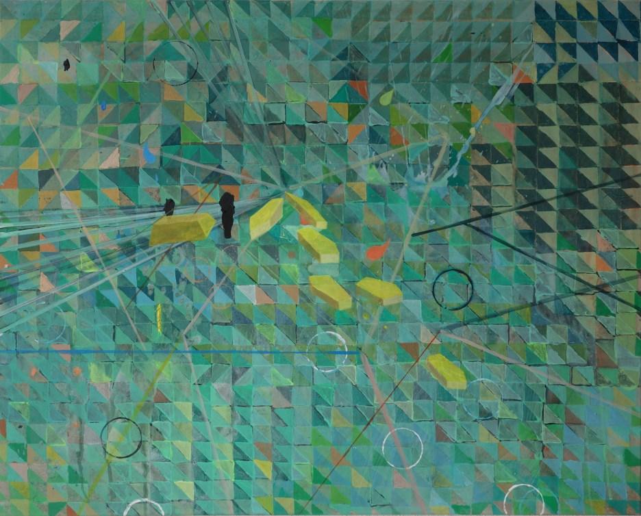Fliegende Goldbarren , Acryl auf Leinwand, 80 x 100 cm, 2019
