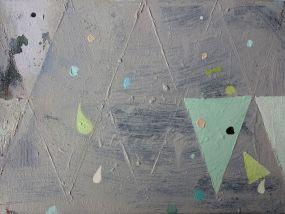 Mint green triangle, light blue, white and lemon green dots, Öl auf Leinwand, 24x30 cm, 2016