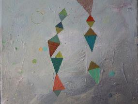 Two chains of triangles, Öl auf Leinwand, 24x30 cm, 2016