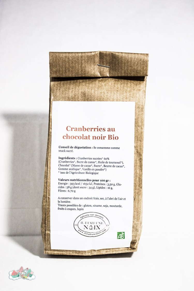 Box Belle au naturel - Cranberries au chocolat noir - fêvrier 2016 - elise&co