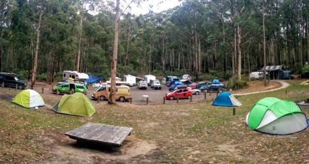 Le Big Hill campsite, avec notre haricot en bas à gauche