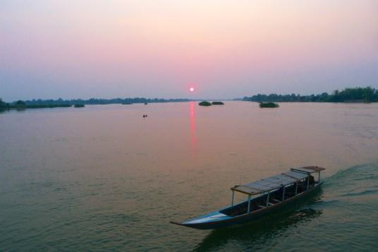 Coucher de soleil Mékong 4000 iles laos blog 5