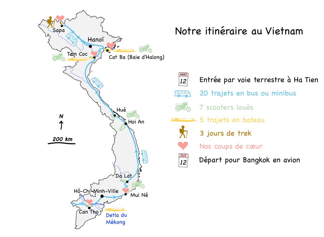 Carte itinéraire bilan Vietnam blog voyage 2016