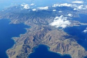 L'ile de Komodo vue du ciel