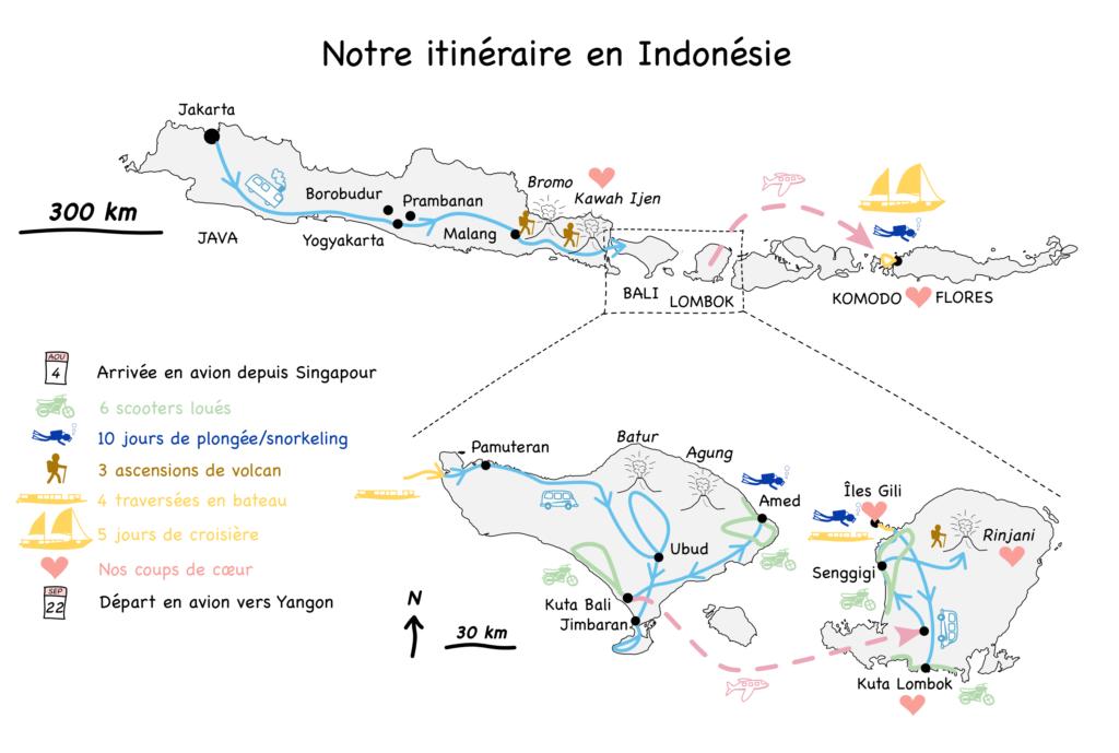Carte de nos trajets en Indonésie