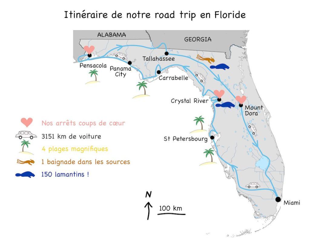 Map Road Trip nord Floride