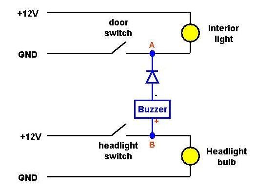 Lights on warning buzzer