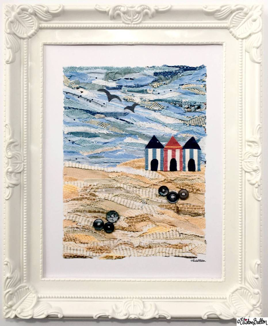 Beach Huts Fabric Collage 8x10 Art Print by Eliston Button in Fancy White Frame - About Me at www.elistonbutton.com - Eliston Button - That Crafty Kid – Art, Design, Craft & Adventure.