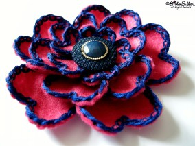 Pink Hearts - Hot Pink and Navy Blue Embroidered Felt Flower Brooch - 27 Before 27 - I Did It! (and two big announcements) at www.elistonbutton.com - Eliston Button - That Crafty Kid – Art, Design, Craft & Adventure.