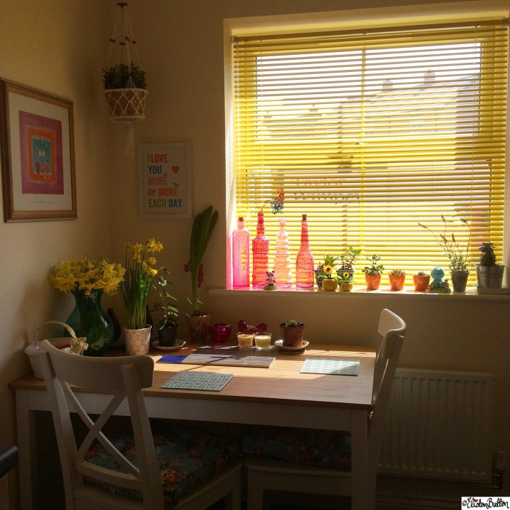 Bright Coloured Kitchen, Yellow, Light - Around Here...April 2015 at www.elistonbutton.com - Eliston Button - That Crafty Kid – Art, Design, Craft & Adventure.