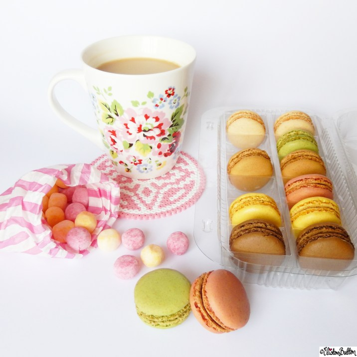 French Macarons, Cath Kidston Mug, Bonbon Sweets - Around Here...April 2015 at www.elistonbutton.com - Eliston Button - That Crafty Kid – Art, Design, Craft & Adventure.