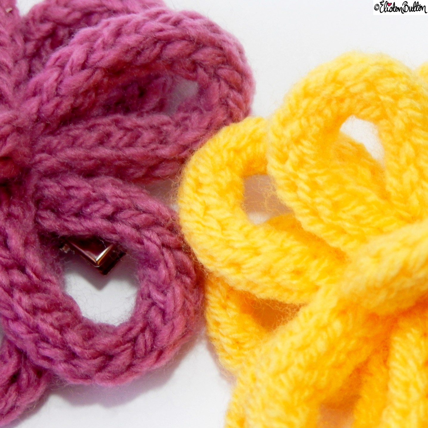 6. French Knitted Flower Hair Clips Close Up - Around Here...May 2015 at www.elistonbutton.com - Eliston Button - That Crafty Kid – Art, Design, Craft & Adventure.