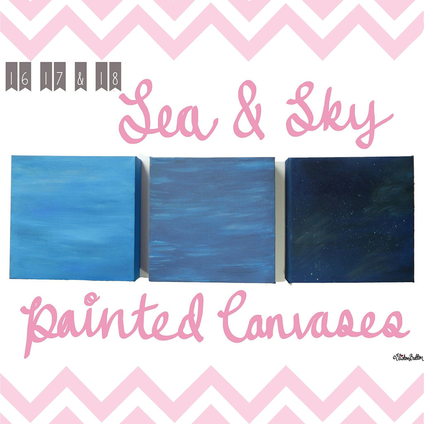 Sea and Sky Painted Canvases - Around Here...May 2015 at www.elistonbutton.com - Eliston Button - That Crafty Kid – Art, Design, Craft & Adventure.