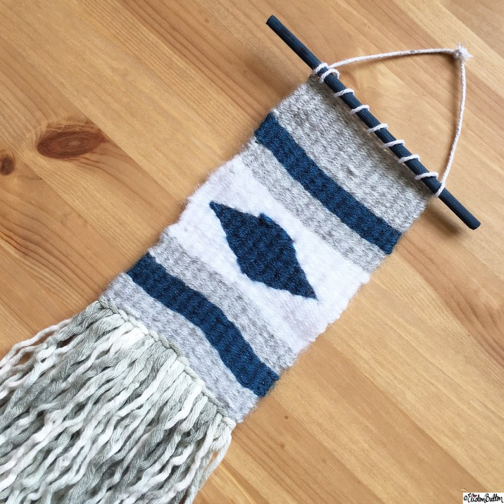Grey and Teal Woven Wall Hanging Weaving using the Mollie Makes Mini Loom Kit - Around Here…October 2015 at www.elistonbutton.com - Eliston Button - That Crafty Kid