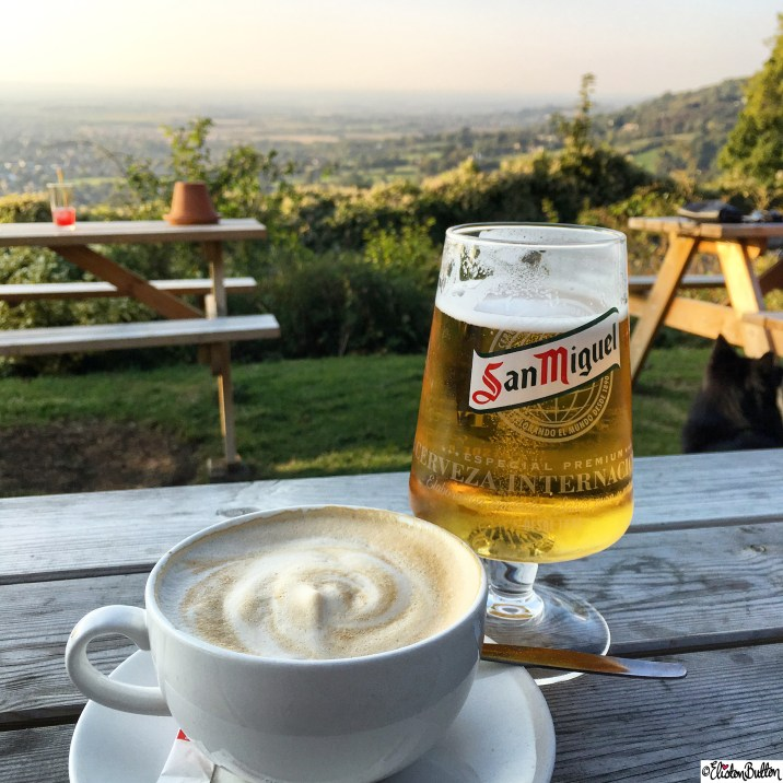 San Miguel and a Cup of Coffee on at The Rising Sun Hotel on Cleeve Hill, Cheltenham, Gloucestershire, Uk - Around Here...October 2015 at www.elistonbutton.com - Eliston Button - That Crafty Kid – Art, Design, Craft & Adventure.