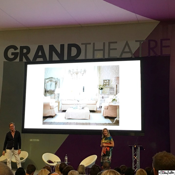 Sophie Robinson and Dan Hopwood on the Grand Theatre Stage at Grand Designs Live - Around Here…October 2015 at www.elistonbutton.com - Eliston Button - That Crafty Kid