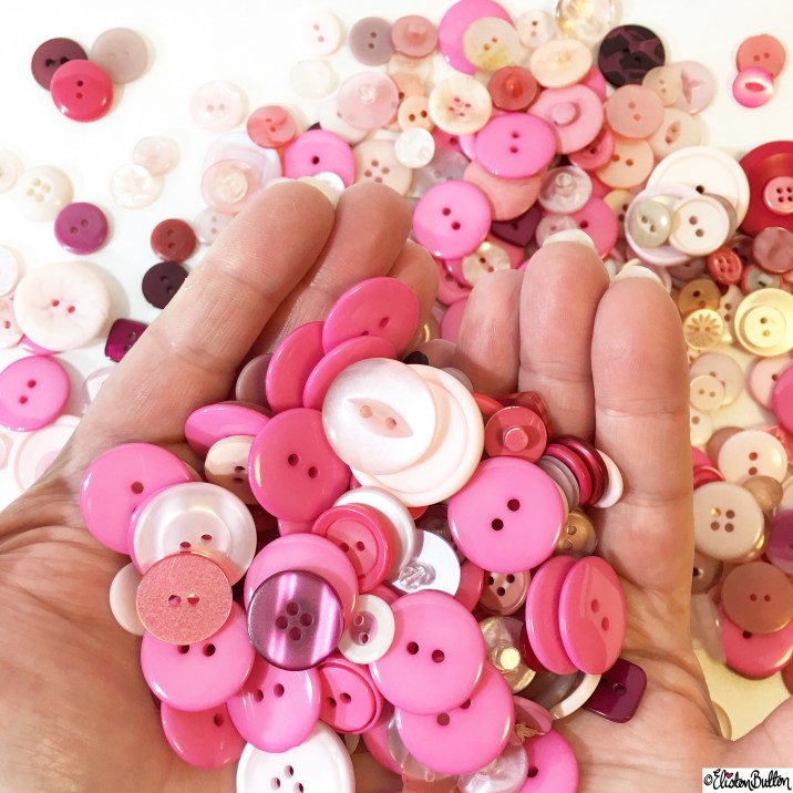 Day 19 - In The Hand - Lots of Pink Buttons! - Photo-a-Day - January 2016 at www.elistonbutton.com - Eliston Button - That Crafty Kid – Art, Design, Craft and Adventure.