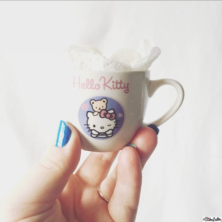 Day 26 - Simplicity - A Tiny Hello Kitty Espresso Cup of Pickled Onions! - Photo-a-Day - January 2016 at www.elistonbutton.com - Eliston Button - That Crafty Kid – Art, Design, Craft and Adventure.