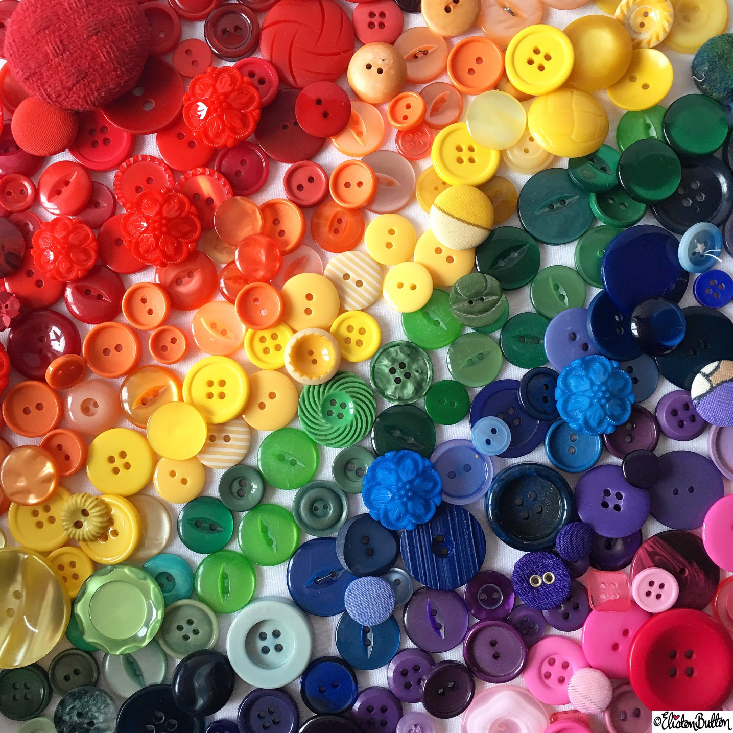 Day 30 - Flatlay - A Rainbow of Buttons! - Photo-a-Day - January 2016 at www.elistonbutton.com - Eliston Button - That Crafty Kid – Art, Design, Craft and Adventure.