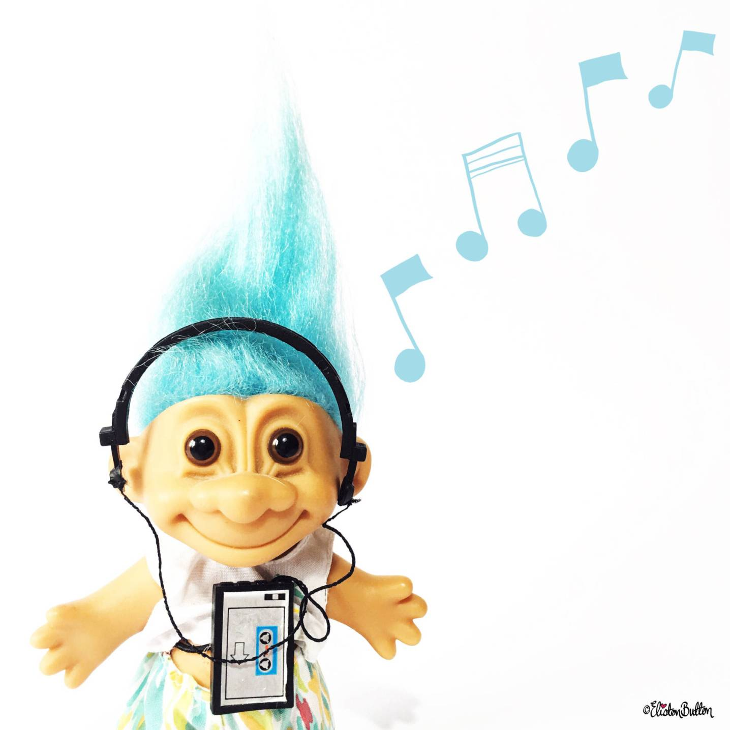 Day 28 - Quiet - Blue Haired Troll with Headphones and Walkman - Photo-a-Day – June 2016 at www.elistonbutton.com - Eliston Button - That Crafty Kid – Art, Design, Craft & Adventure.