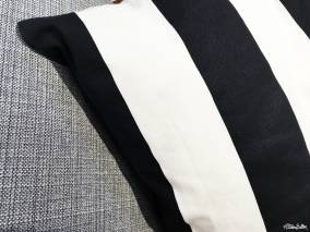 Black and White Bold Striped Cushion and Woven Grey Sofa Fabric in IKEA, Birmingham - The Patterns and Colours of IKEA at www.elistonbutton.com - Eliston Button - That Crafty Kid – Art, Design, Craft & Adventure.