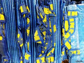 Blue and Yellow Iconic IKEA Bags at IKEA, Birmingham - The Patterns and Colours of IKEA at www.elistonbutton.com - Eliston Button - That Crafty Kid – Art, Design, Craft & Adventure.