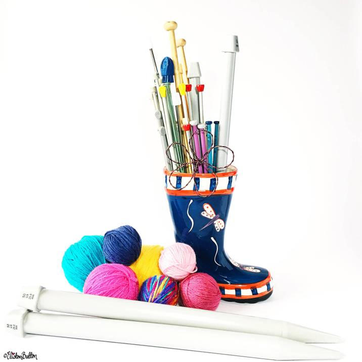 Day 27 - One - One Cermaic Wellington Boot Full of Knitting Needles - Photo-a-Day - July 2016 - Eliston Button A-Z of Craft at www.elistonbutton.com - Eliston Button - That Crafty Kid – Art, Design, Craft & Adventure.